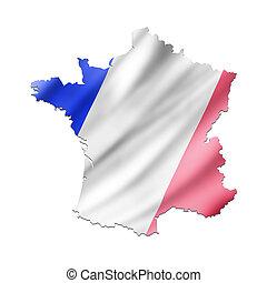 kaart, van, frankrijk, met, vlag