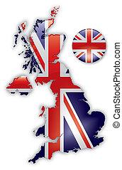 kaart, van, groot-brittannië