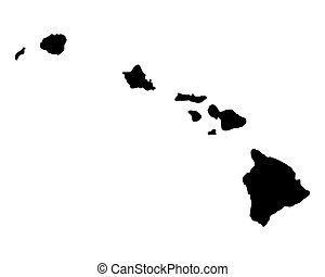kaart, van, hawaii