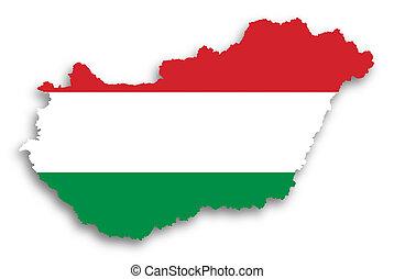 kaart, van, hongarije, gevulde, met, vlag