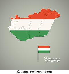 kaart, van, hongarije, met, nationale, flag.