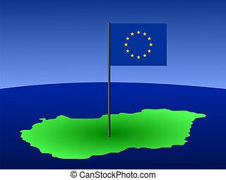 kaart, van, hongarije, met, vlag