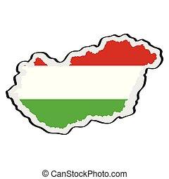 kaart, van, hongarije, met, zijn, vlag