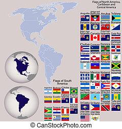 kaart, van, noorden, en, zuid-amerika, met, alles, vlaggen, en, aarde, bollen
