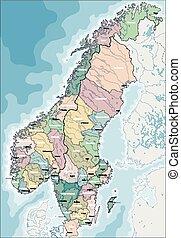 kaart, van, noorwegen, en, zweden