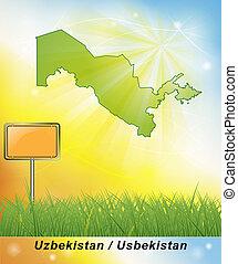 kaart, van, oezbekistan