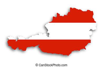 kaart, van, oostenrijk, gevulde, met, vlag