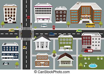kaart, van, publiek, diensten, gebied