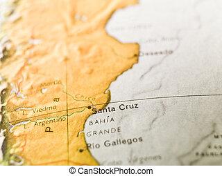 kaart, van, santa cruz