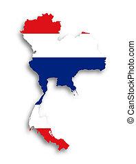 kaart, van, thailand, gevulde, met, vlag