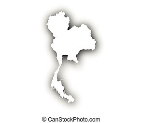 kaart, van, thailand, met, schaduw