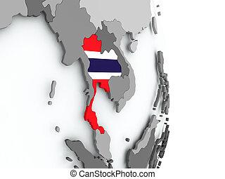 kaart, van, thailand, met, vlag