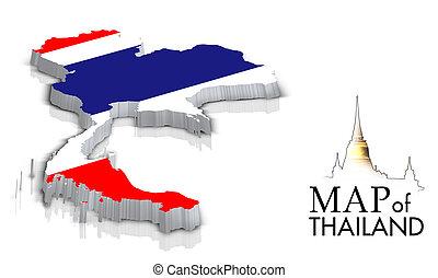 kaart, van, thailand, met, vlag, vrijstaand