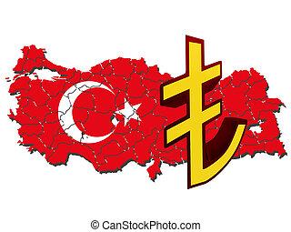 kaart, van, turkije, gevulde, met, vlag