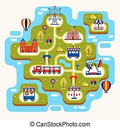 kaart, van, vermakelijkheid park, met, aantrekkingen