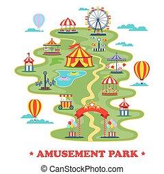 kaart, van, vermakelijkheid park, of, circus, met, aantrekkingen