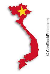 kaart, van, vietnam, gevulde, met, vlag