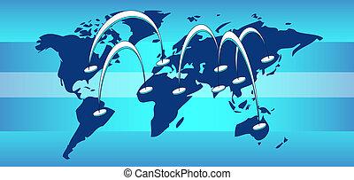 kaart van wereld, met, communicatie