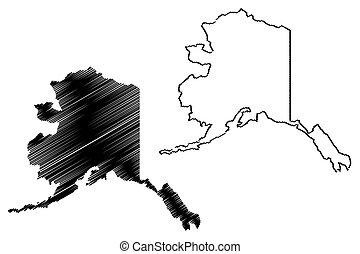 kaart, vector, alaska