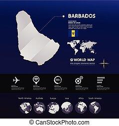kaart, vector, barbados