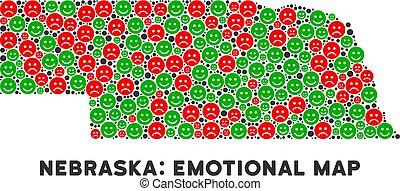 kaart, vector, collage, staat, nebraska, emojis, geluk