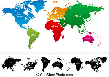 kaart, vector, continenten, kleurrijke, wereld