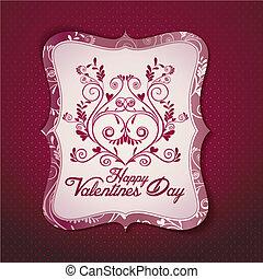 kaart, vector, dag, templat, valentine