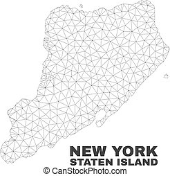 kaart, vector, eiland, staten, polygonal, maas