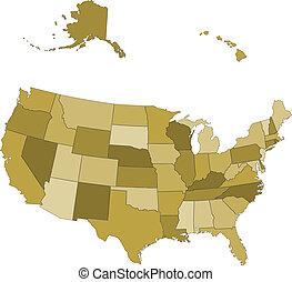 kaart, vector, -, gescheiden, staten, usa, groepen