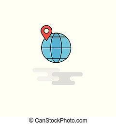 kaart, vector, icon., plaats, plat