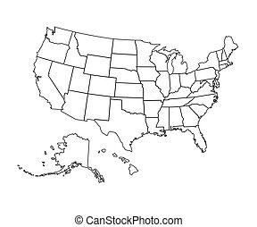 kaart, vector, -, illustration., usa
