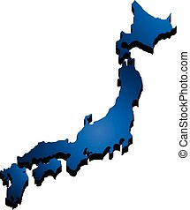 kaart, vector, japan., illustratie, 3d