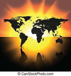 kaart, vector, ondergaande zon , achtergrond, wereld