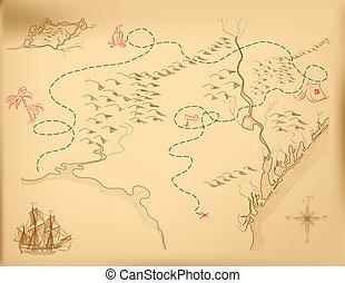 kaart, vector, oud