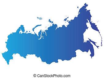 kaart, vector, rusland