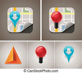 kaart, vector, set, pictogram
