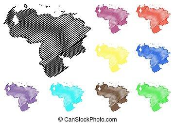 kaart, vector, venezuela