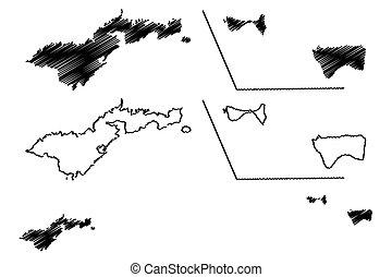 kaart, vector, westelijk, america), roos, (tutuila, samoa,...