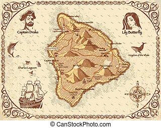 kaart, vector, zeerover