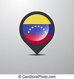 kaart, venezuela, spelden