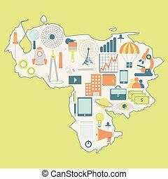 kaart, venezuela:, technologie beelden