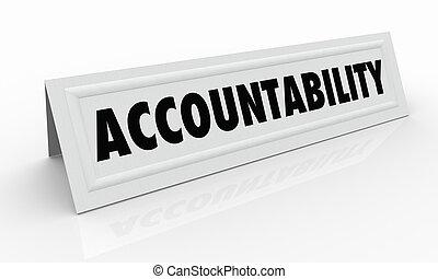kaart, verantwoordelijkheidsgevoel, tentje, naam, illustratie, accountability, 3d