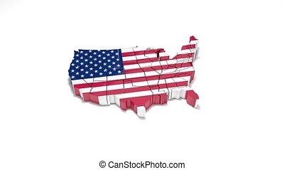 kaart, verenigd, 17., states., politiek, staten, america.