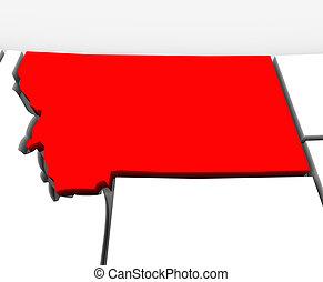 kaart, verenigd, abstract, staten, staat, montana, amerika, rood, 3d