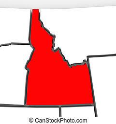 kaart, verenigd, abstract, staten, staat, rood, amerika, idaho, 3d