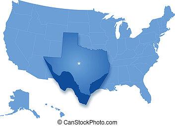 kaart, verenigd, getrokken, staten, waar, texas, uit