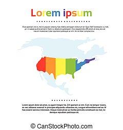 kaart, verenigd, kleurrijke, regenboog, staten, amerika