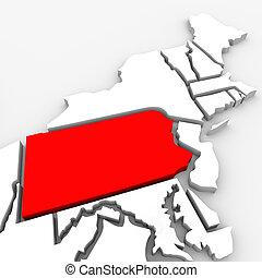 kaart, verenigd, pennsylvania, abstract, staten, staat, amerika, rood, 3d