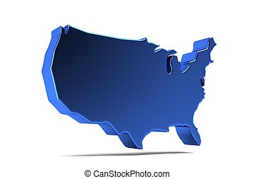 kaart, verenigd, render, usa, illustratie, staten, 3d