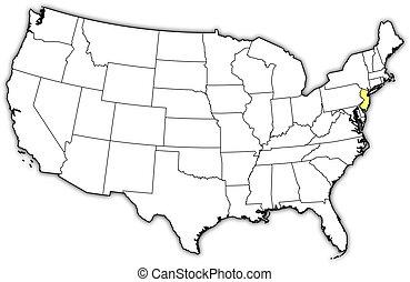 kaart, verenigde staten, aangepunt, new jersey